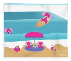 A Dog Family Surf Day Out Fleece Blanket