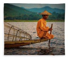 A Fisherman Of Inle Lake Fleece Blanket