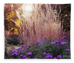 A Flower Bed In The Autumn Park Fleece Blanket