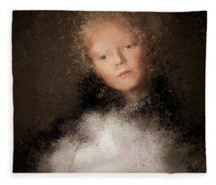 A Girl With The Hand Fan Fleece Blanket