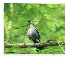 A Gray Catbird Singing Fleece Blanket