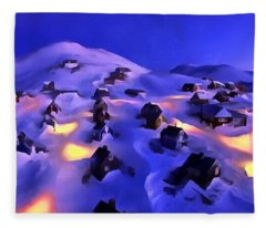 A Greenland Village View Fleece Blanket