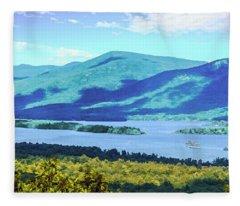 A Lake George View. Fleece Blanket