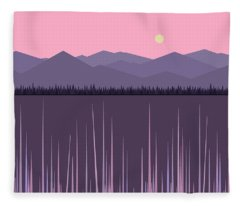 A Lake In The Mountains -  Pink Sky Fleece Blanket