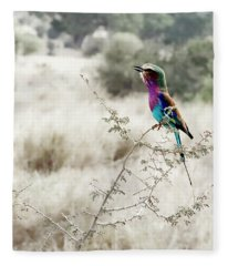 A Lilac Breasted Roller Sings, Desaturated Fleece Blanket