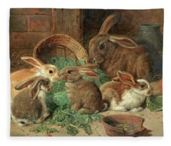 A Mother Rabbit And Her Young Fleece Blanket