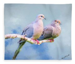 A Pair Of Mourning Doves Perching On A Branch. Fleece Blanket
