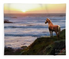 Fleece Blanket featuring the digital art A Palomino Sunset by Melinda Hughes-Berland