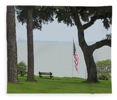 A Patriotic Scenic View From Fairhope Alabama - Color Enhanced Fleece Blanket