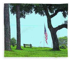 A Patriotic Scenic View From Fairhope Alabama On A Sunny Day Fleece Blanket