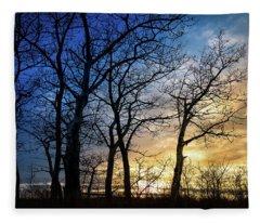 A Prairie Winter Sunset Fleece Blanket