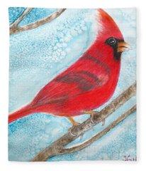A Red Bird  Fleece Blanket