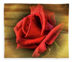 A Red Rose On Gold Fleece Blanket