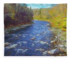 A River Flowing Through Autumn Forest. Fleece Blanket