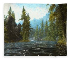 A River Flows Thru It Fleece Blanket