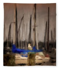 A Seagull At Pirates Cove Fleece Blanket