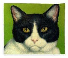 A Serious Cat Fleece Blanket