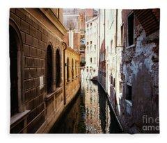 A Shadow In The Venetian Noon Narrow Canal Fleece Blanket