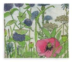 A Single Poppy Wildflowers Garden Flowers Fleece Blanket