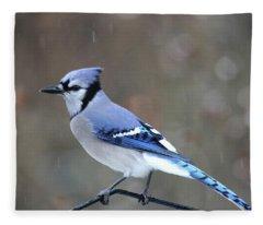 A Snowy Day With Blue Jay Fleece Blanket