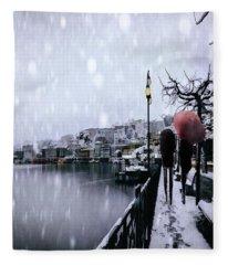 A Snowy Walk Fleece Blanket