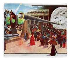 A Trip To The Moon, C 1900 French Vintage Poster Fleece Blanket