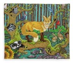 A Vixen In The Forest Fleece Blanket