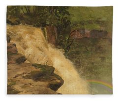 A Waterfall In Colombia - Digital Remastered Edition Fleece Blanket