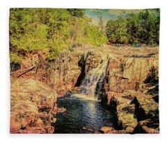 A Waterfall Landscape. Fleece Blanket