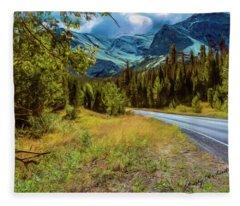 A Western Montana Mountain Landscape Fleece Blanket