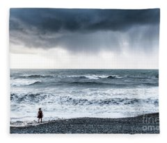 A Woman In The Sea On A Stormy Day  Fleece Blanket