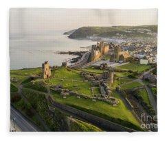 Aberystwyt Castle At Dawn Fleece Blanket