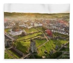 Aberystwyth Castle From The Air At Dawn Fleece Blanket
