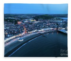 Aberystwyth From The Air At Night Fleece Blanket