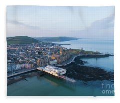 Aberystwyth From The Air In The Morning Fleece Blanket