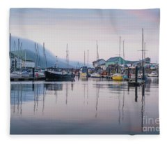 Aberystwyth Harbour In The Eatly Morning Fleece Blanket