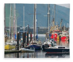 Aberystwyth Marina At Daybreaj Fleece Blanket