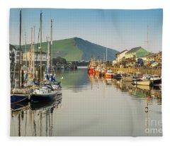 Aberystwyth Marina At Daybreak Fleece Blanket