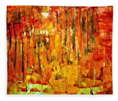 Fleece Blanket featuring the painting Ablaze by 'REA' Gallery