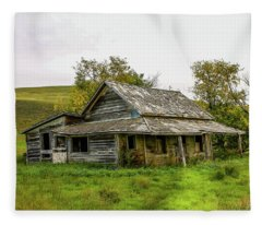Abondened Old Farm Houese And Estates Dot The Prairie Landscape, Fleece Blanket