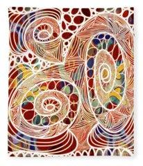 Abstract Bold Colors And Joyful Circles Digital Mixed Media By Omaste Witkowski Fleece Blanket