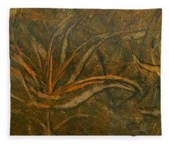 Abstract Brown/orange Floral In Encaustic Fleece Blanket