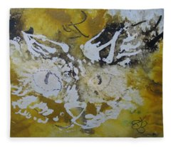 Abstract Cat Face Yellows And Browns Fleece Blanket
