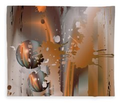 Abstract Copper Fleece Blanket