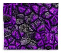 Abstract Deep Purple Stone Triptych Fleece Blanket