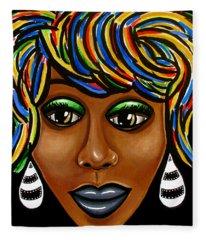 Abstract Art Black Woman Retro Pop Art Painting- Ai P. Nilson Fleece Blanket