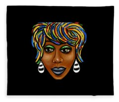 Abstract Art Black Woman Retro Pop Art Painting- Ai P. Nilson Fleece Blanket
