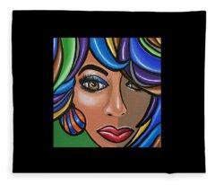 Abstract Woman Artwork Abstract Female Painting Colorful Hair Salon Art - Ai P. Nilson Fleece Blanket