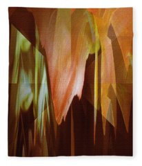 Abstract Orange Flower Fleece Blanket