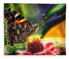 Abstract Painted Lady Butterfly Fleece Blanket